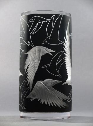Bílé vrány / negativní rytina doplněná barvou / 20,5 × 10 cm