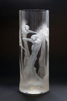 Jeřábi / negativní rytina / 25 × 9,5 cm