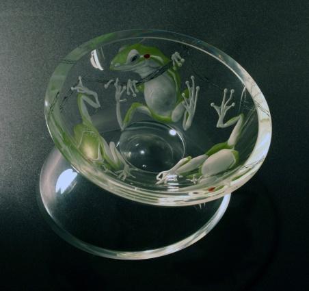 Na prameni / negativní rytina doplněná barvou / 13 × 17 cm