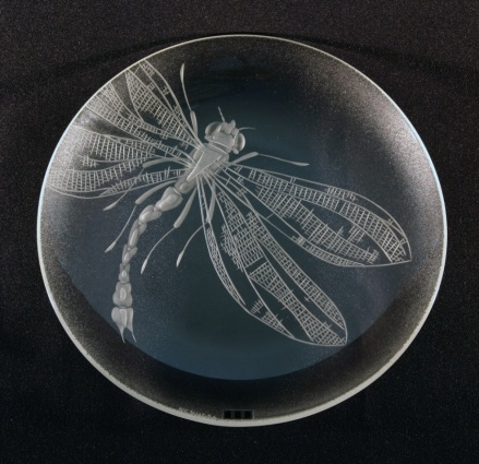 Vážka / negativní rytina / průměr 18,5 cm