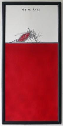 Daruj krev / kombinovaná technika / 64 × 31 cm