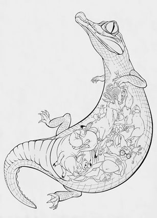 Krokodýl / kresba linery / 59,4 × 42 cm