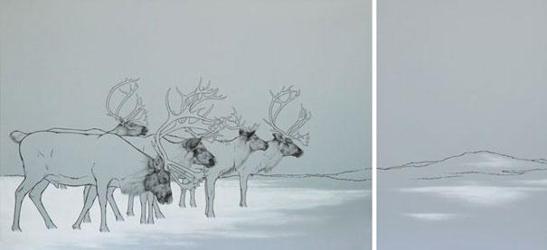 Sobi / kresba tuší / 60 × 90 cm, 60 × 40 cm