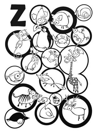 Zoo / kresba linery / 59,4 × 42 cm